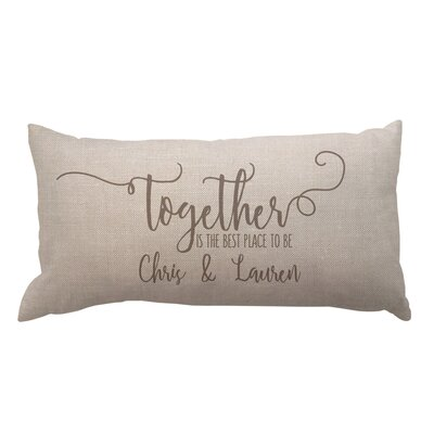 Together with Couples Names Textured Linen Lumbar Pillow