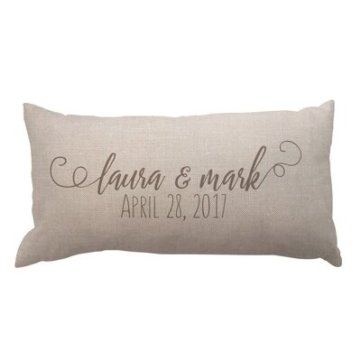 Script Couples Names and Date Textured Linen Lumbar Pillow