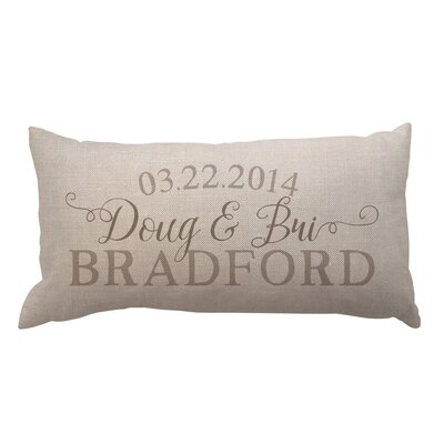 Script Couples Names with Date Textured Linen Lumbar Pillow