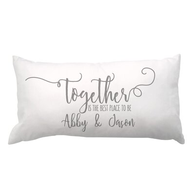 Together with Couples Names Lumbar Pillow