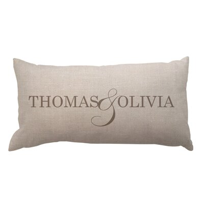 Couple Names Textured Linen Lumbar Pillow