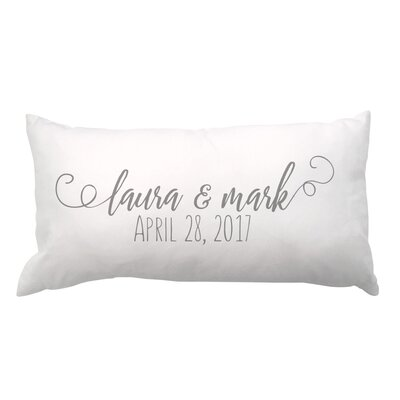 Script Couple Names and Date Lumbar Pillow
