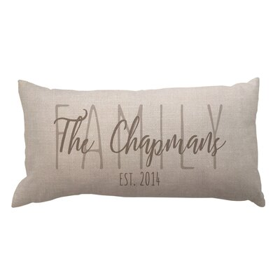 Family Overlay and Date Textured Linen Lumbar Pillow