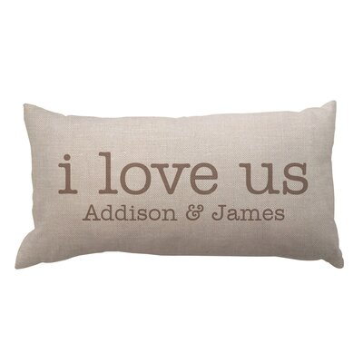 I Love Us with Couple Names Textured Linen Lumbar Pillow