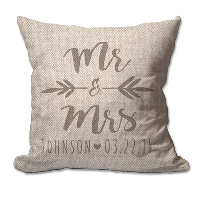 Personalized Brush Script Mr & Mrs Textured Linen Throw Pillow