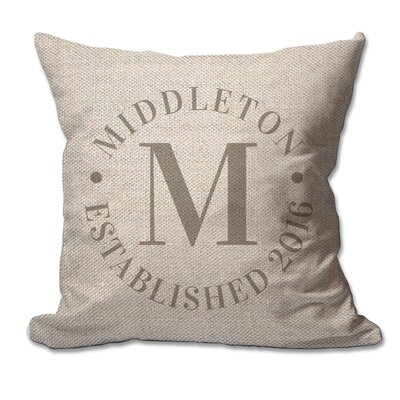 Personalized Circle Family Name and Year Textured Linen Throw Pillow
