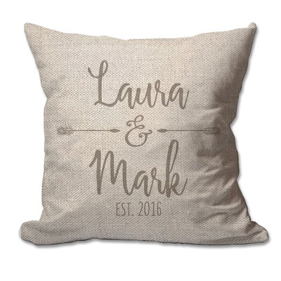 Personalized Couples Names with Arrows Textured Linen Throw Pillow