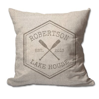Personalized Crossed Oars Lake House Textured Linen Throw Pillow