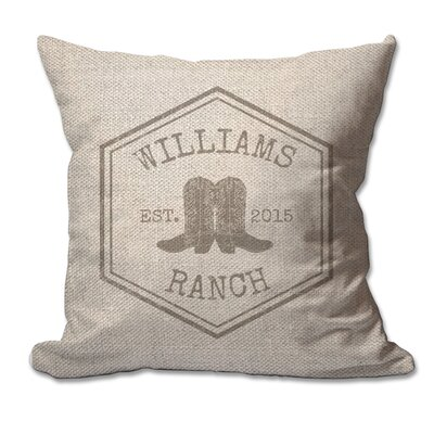 Personalized Rustic Ranch Textured Linen Throw Pillow