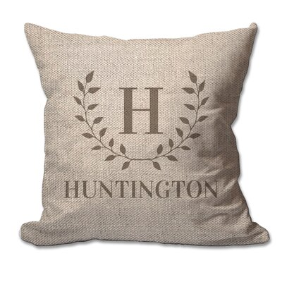 Personalized Family Initial and Name Laurel Wreath Textured Linen Throw Pillow