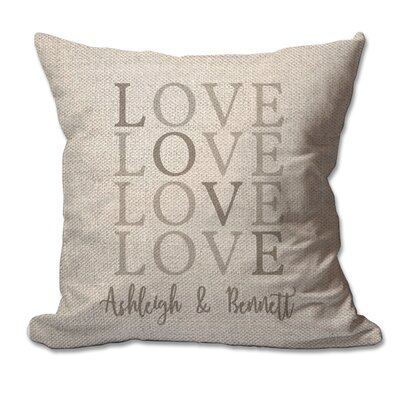 Personalized Love with Couples Names Textured Linen Throw Pillow