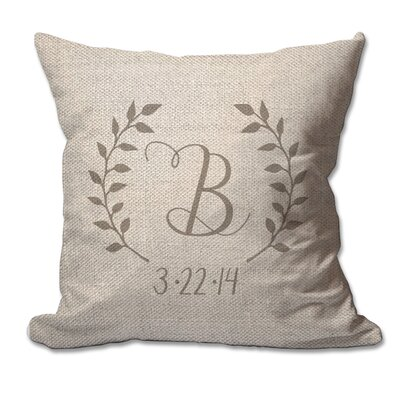 Personalized Script Initial and Date Laurel Wreath Textured Linen Throw Pillow