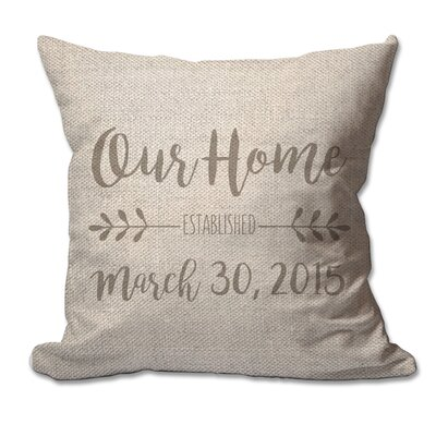 Personalized Our Home with Established Date Textured Linen Throw Pillow