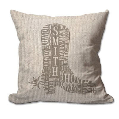 Personalized Howdy Cowboy Boot with Name Textured Linen Throw Pillow