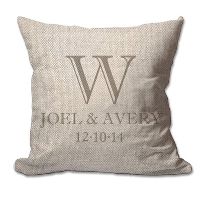 Personalized Couples Initial with First Names and Date Textured Linen Throw Pillow