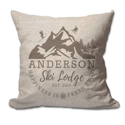Personalized Ski Lodge Textured Linen Throw Pillow