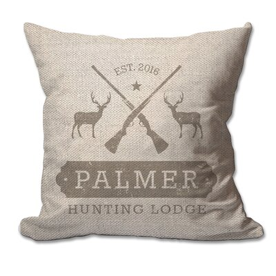 Personalized Hunting Lodge Textured Linen Throw Pillow