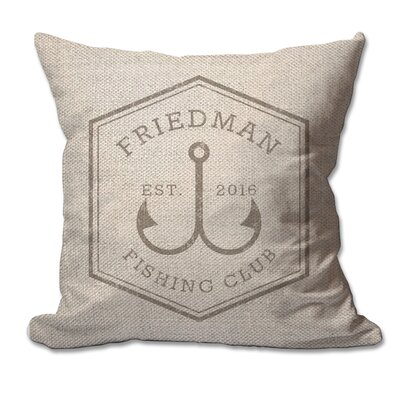 Personalized Fishing Club Textured Linen Throw Pillow