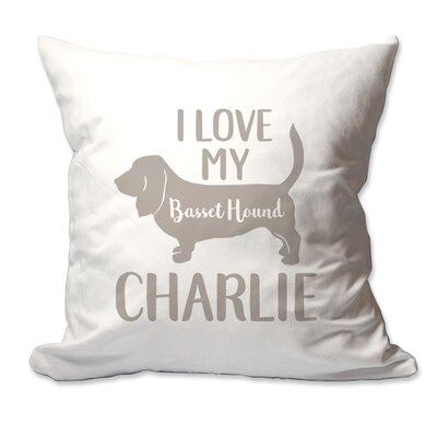 Personalized I Love My Basset Hound Throw Pillow