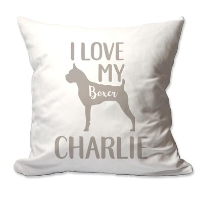 Personalized I Love My Boxer Throw Pillow