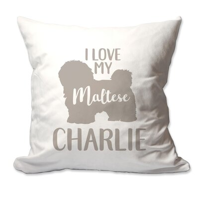 Personalized I Love My Maltese Throw Pillow