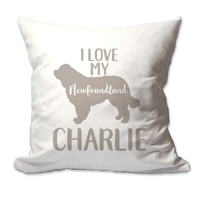 Personalized I Love My Newfoundland Throw Pillow