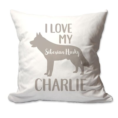 Personalized I Love My Siberian Husky Throw Pillow