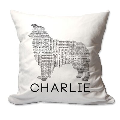 Personalized Australian Shepherd Dog Breed Word Silhouette Throw Pillow