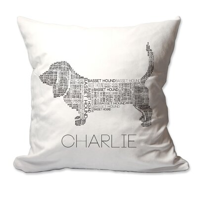 Personalized Basset Hound Dog Breed Word Silhouette Throw Pillow