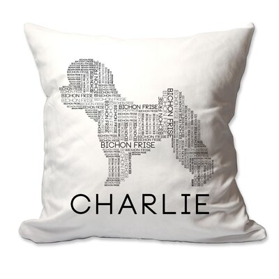 Personalized Bichon Frise Dog Breed Word Silhouette Throw Pillow