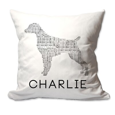 Personalized Brittany Dog Breed Word Silhouette Throw Pillow