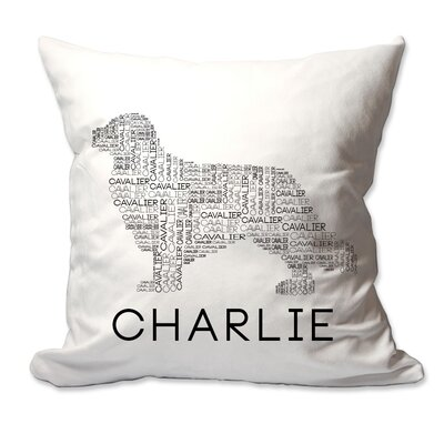 Personalized Cavalier King Charles Spaniel (Cavalier) Dog Breed Word Silhouette Throw Pillow