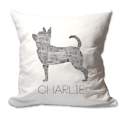 Personalized Chihuahua Dog Breed Word Silhouette Throw Pillow