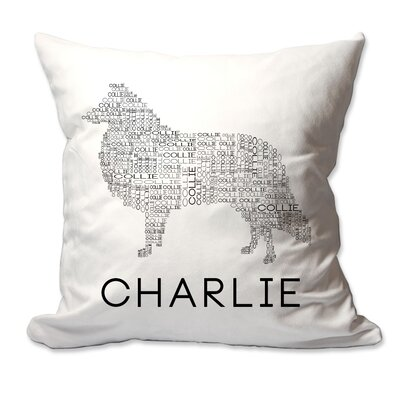 Personalized Collie Dog Breed Word Silhouette Throw Pillow