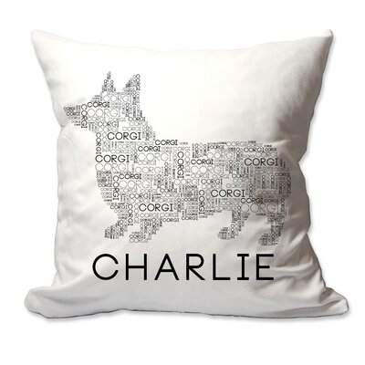 Personalized Corgi Dog Breed Word Silhouette Throw Pillow