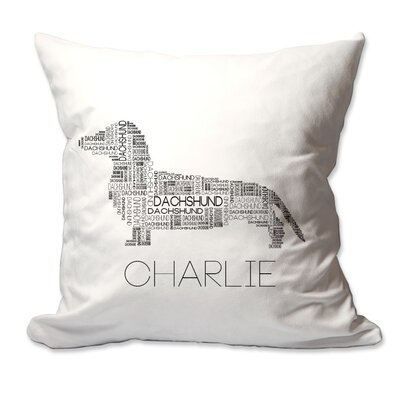 Personalized Dachshund Dog Breed Word Silhouette Throw Pillow