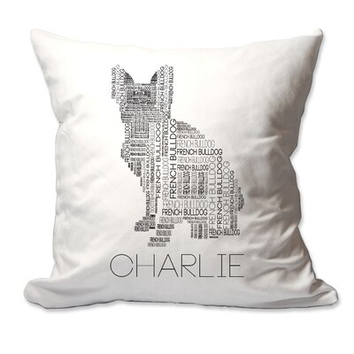 Personalized French Bulldog Dog Breed Word Silhouette Throw Pillow