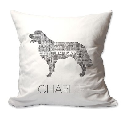Personalized Golden Retriever Dog Breed Word Silhouette Throw Pillow