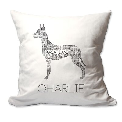 Personalized Great Dane Dog Breed Word Silhouette Throw Pillow