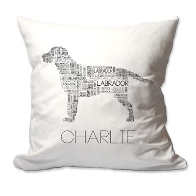 Personalized Labrador Dog Breed Word Silhouette Throw Pillow