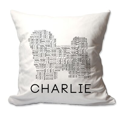Personalized Maltese Dog Breed Word Silhouette Throw Pillow