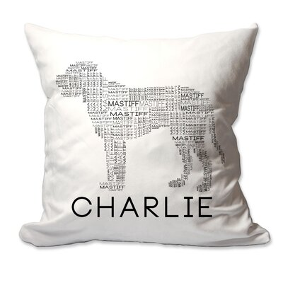 Personalized Mastiff Dog Breed Word Silhouette Throw Pillow