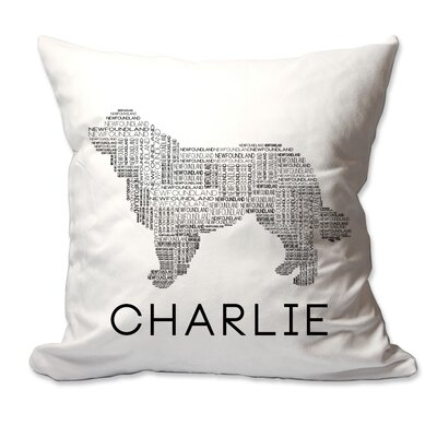 Personalized Newfoundland Dog Breed Word Silhouette Throw Pillow