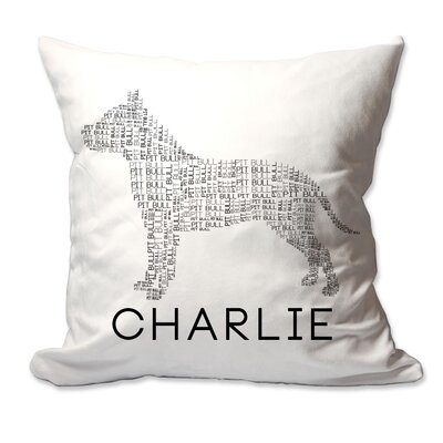 Personalized Pit Bull Dog Breed Word Silhouette Throw Pillow