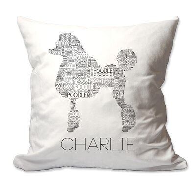 Personalized Poodle Dog Breed Word Silhouette Throw Pillow