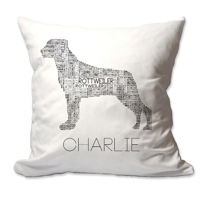 Personalized Rottweiler Dog Breed Word Silhouette Throw Pillow