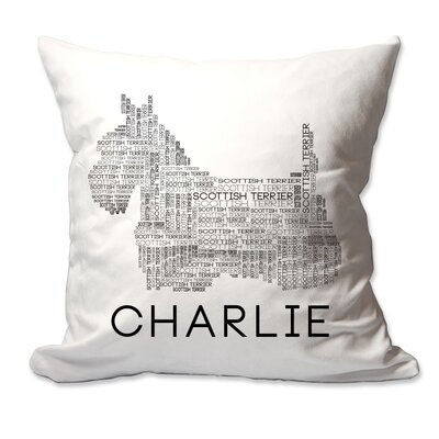 Personalized Scottish Terrier (Scottie) Dog Breed Word Silhouette Throw Pillow