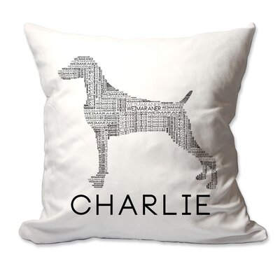 Personalized Weimaraner Dog Breed Word Silhouette Throw Pillow