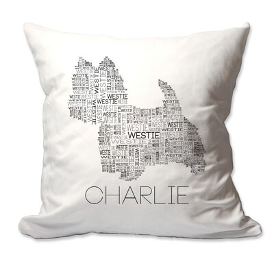 Personalized Westie Dog Breed Word Silhouette Throw Pillow
