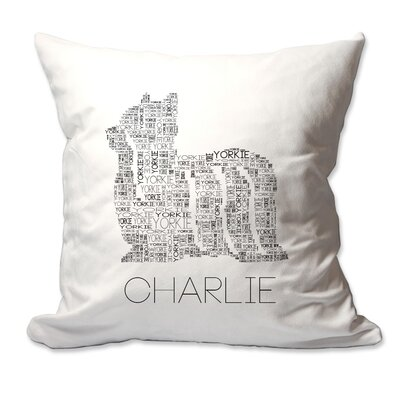 Personalized Yorkie Dog Breed Word Silhouette Throw Pillow